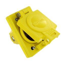 Leviton 97W81-S 30 Amp, 120/208 Volt 3-phase WYE, NEMA L21-30, 4P, 5W, Industrial Grade, Grounding, Wetguard, Locking Single Outlet, Yellow