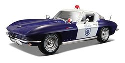 Maisto 1965 Chevy Corvette Police Diecast Vehicle (1:18 Scale)