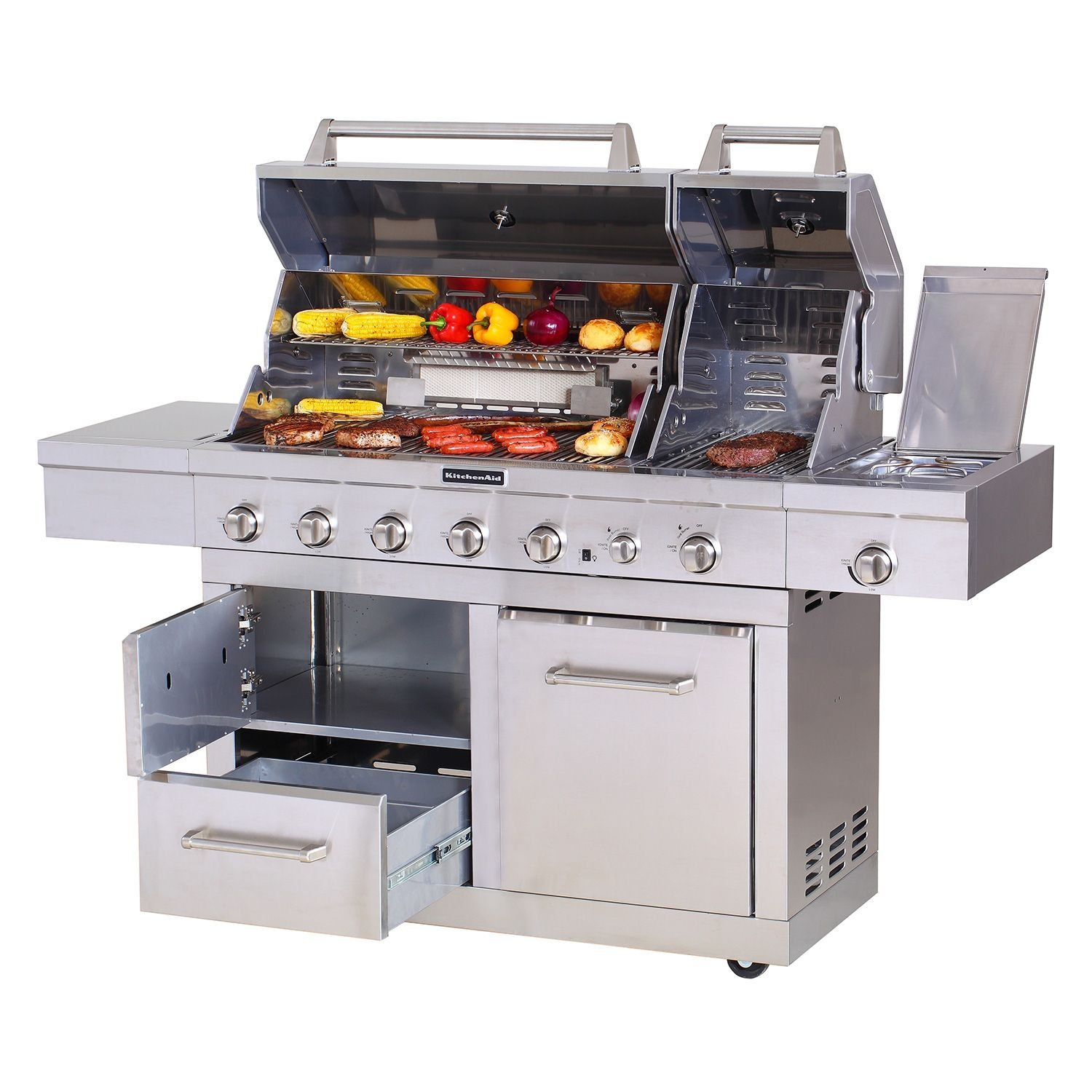 KitchenAid 6-Burner Dual Chamber Gas Grill with Grill Cover ...