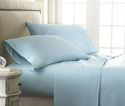 ienjoy Home Embossed Checker Design 4 PC Bed Sheet Set - Aqua - Size:Queen