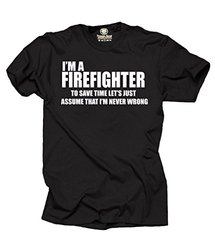 "Milky Way ""I Am Firefighter"" Profession Tee T-Shirt - Black - Size: M"
