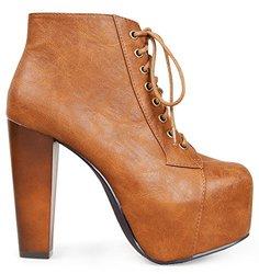 Marco Republic Women's Wedges High Heels Pumps Boots - Tan - Size: 7