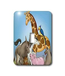 3dRose LLC lsp_41839_1 Cute Animals Single Toggle Switch