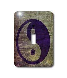 3dRose lsp_38560_1 Purple Abstract Yin Yang- Balance- Inspirational- Spirituality Single Toggle Switch