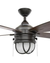 "Hampton Bay Seaport 52"" Indoor/Outdoor Ceiling Fan - Natural Iron AL634-NI"
