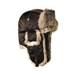 Mad Bomber Kid's Lil Bomber Hat with Rabbit Fur - Black - Size: XL