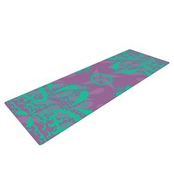 "Kess InHouse Nandita Singh ""Motifs in Green"" Yoga Exercise Mat - Purple Floral"