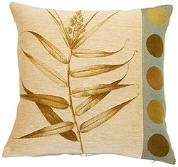"Corona Decor 19""x19"" French Woven Decorative Pillow - Fern/Dot"