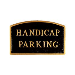 "Montague Metal ""Handicap Parking"" Arch Statement Plaque - Black/Gold"