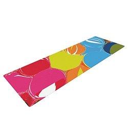 "Kess InHouse Matthias Hennig ""Bubbles"" Yoga Exercise Mat, Rainbow Circles, 72 x 24-Inch"