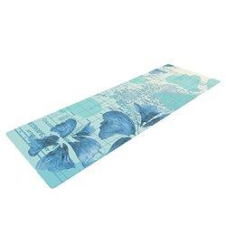 "Kess InHouse Catherine Holcombe ""Flower Power Blue"" Yoga Mat - Aqua"