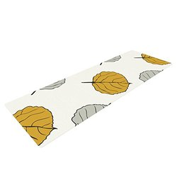 "Kess InHouse Laurie Baars ""Leaf"" Yoga Exercise Mat, White/Gray, 72 x 24-Inch"