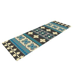 "Kess InHouse Nandita Singh ""Borders Blue"" Yoga Exercise Mat - Teal/Yellow"