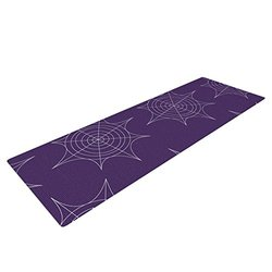 Kess InHouse KESS Original Yoga Exercise Mat, Spiderwebs - Purple, 72 x 24-Inch