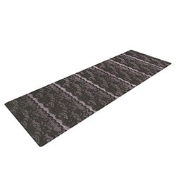 "Kess InHouse Heidi Jennings ""Black Lace"" Yoga Exercise Mat, Gray, 72 x 24-Inch"