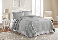 Frame Square Quilt Set (3- Piece): Gray/full-queen