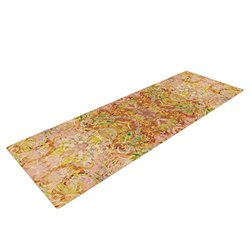 "Kess InHouse Nikposium ""Goldenrod II"" Yoga Exercise Mat, Yellow/Gold, 72 x 24-Inch"