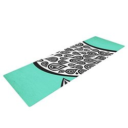 "Kess InHouse Pom Graphic Design ""Two Romantic Birds"" Yoga Exercise Mat, Abstract Teal, 72 x 24-Inch"