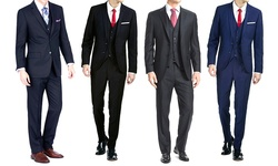 Braveman Men's 3 Piece Slim Fit Suits - Navy - Size: 36R x 30W