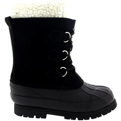 Polar Kid's Pull On Snow Rain Fur Boot - Black - Size: 1 (Little Kid)