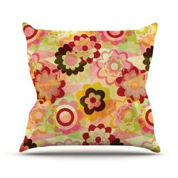 """Kess InHouse Louise Machado """"Colorful Mix"""" Red Orange Outdoor Throw Pillow, 18 by 18-Inch"""