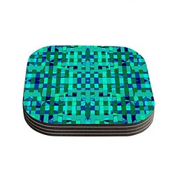 "Kess InHouse Nina May ""Verdiga"" Coaster - Green/Blue - Size: 4"" x 4"""