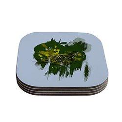 "Kess InHouse Frederic Levy Hadida ""Water"" Zebra Coaster - Green/White"