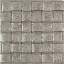 "Basket Weave Design Solid Metal Accent Tile - Durable Pewter - 4"" x 4"""