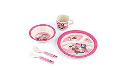 Peterson Housewares BF0263025S 5 Piece Kids Dinnerware Bamboo Fibre Set, Pink Pirate