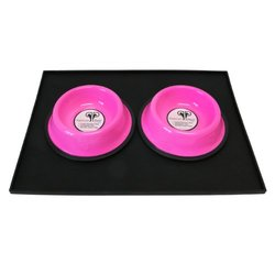 Platinum Pets 1 Cup Embossed Non-Tip Stainless Steel Puppy Bowls with Black Feeding Mat, Bubblegum Pink