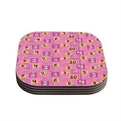 "4""x4"" Jane Smith ""Vintage Playground II"" Coasters - Set of 4 - Pink/Yellow"