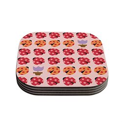"Kess InHouse 4x4"" Jane Smith Seasons Spring Coasters - Set of 4 - Pink/Red"