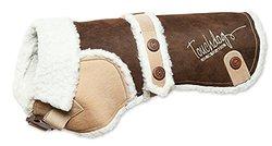 Touchdog Original Sherpa-Bark Designer Fashion-Forward Dog Coat, Dark Choco Brown, Light Sand Brown, XS