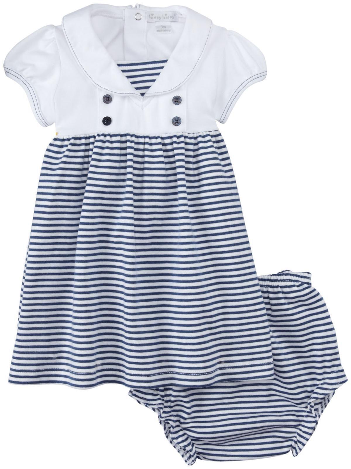 Kissy Kissy Baby Topsail Stripe Dress w Collar Navy Size 0 3