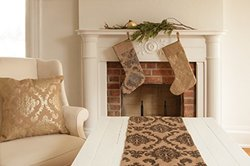 Heritage Lace Burlap Damask Stocking, 8 by 18-Inch, Gold