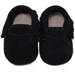 Conda Handmade Baby Moccasins Shoes - Blue Suede - Size: 12/18 Months