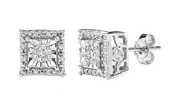 Sfmny 1/4CTTW Diamond Stud Earrings In Sterling Silver - Square