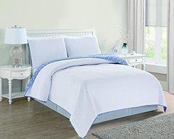 Avignon Embroidered Wave Design Quilt Set 3 PC - White - Size: King