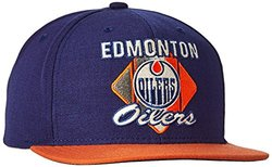 NHL Oilers Men's CCM Diamond Flat Brim Snapback Cap - Blue - Size:One Size