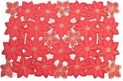 Xia Home Fashions 4-Pack Festive Poinsettia Embroidered Cutwork Christmas Placemats, 14-Inch by 20-Inch