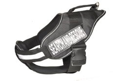 Dogline Alpha Nylon Service Vest Harness with Search & Rescue Velcro Patches, Medium, Black