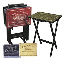 Evergreen Enterprises Inc Wine Label TV Tray Set with Stand (Set of 4