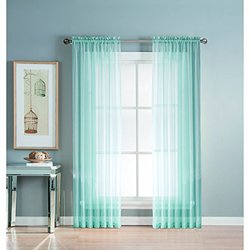 Window Elements Sheer Elegance Faux Linen Extra Wide 108 x 84 in. Rod Pocket Curtain Panel Pair, Light Blue