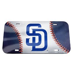 MLB San Diego Padres Ball & Logo Crystal Mirror License Plate, 6 x 12""