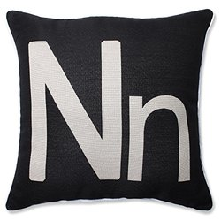 Pillow Perfect Initial N 18-inch Throw Pillow
