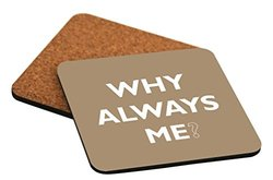 "Rikki Knight ""Why Always Me Brown Color Design"" Square Beer Coasters"