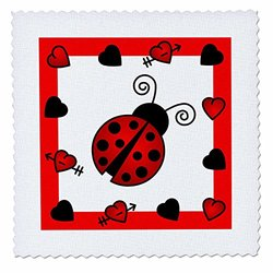 3dRose Love Bugs Red Ladybug with Hearts - Quilt Square, 12 by 12-Inch (qs_12112_4)