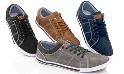 Franco Vanucci Men's Lace Up Sneakers - Tan - Size: 9.5
