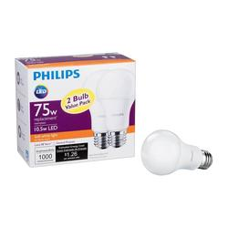 Philips 75W Equivalent Soft White A19 LED Light Bulb - 2 Pack