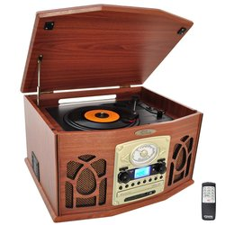 Pyle Home Retro Vintage Turntable with CD/MP3/Casette/Radio/USB/SD - Wood